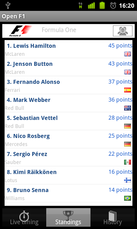 F1 Live standings screenshot