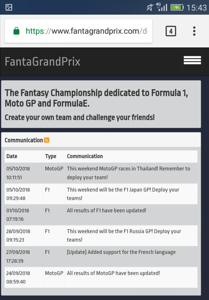 FantaGrandPrix screenshot