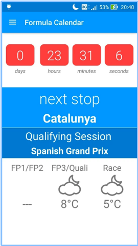Formula Calendar 2016 screenshot